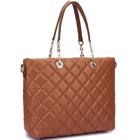 Faux Leather Quilted Tote Bag with Chained Handles