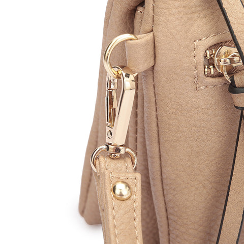 Soft Faux Leather Gold-Tone Messenger Cross-body Clutch Bag