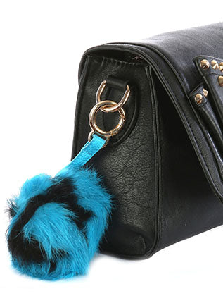 Blue Faux Fur Pom Pom Bag Accessory Key Chain Image#2