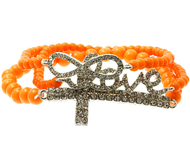 Orange Stretch Metal Bracelet