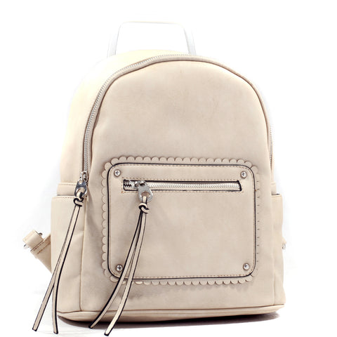 Vegan Leather Tassel Backpack with Two Side Pockets