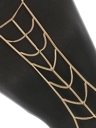 Gold Layered Metal Choker Necklace And Body Chain Image#2