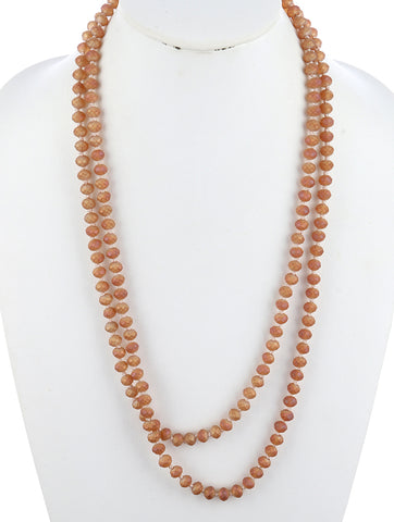 Brown Natural Stone Finish Extra Long Bead Necklace