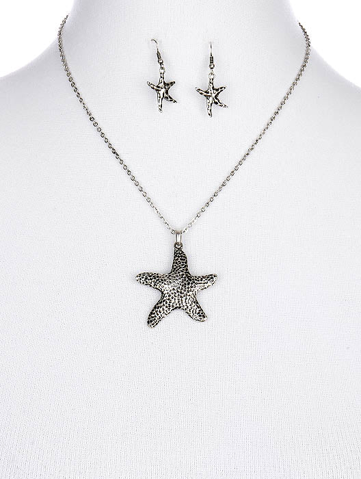 Sliver Aged Finish Metal Starfish Pendant Necklace And Earring Set