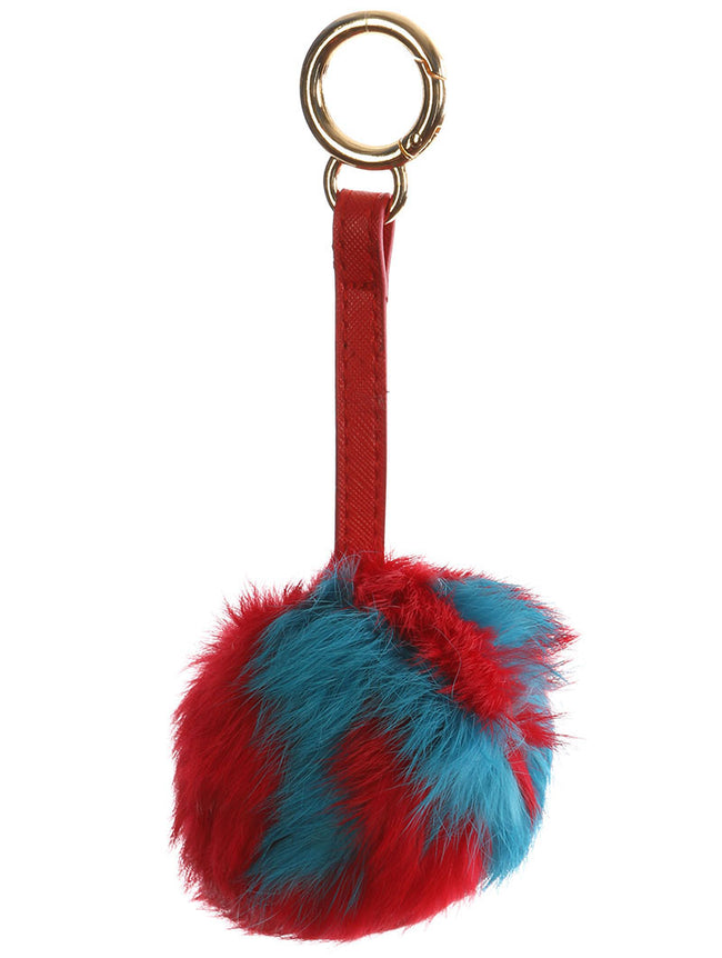 Red Faux Fur Pom Pom Bag Accessory Key Chain