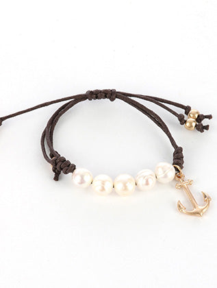Brown Metal Seashell Charm Adjustable Pearl Bracelet Image#2