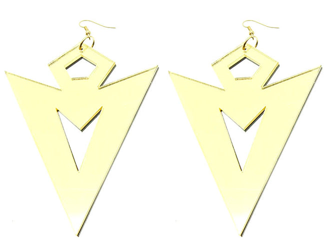 Gold Fish Hook Lucite Earring