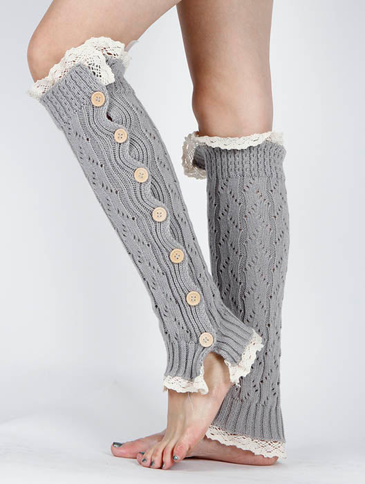 Gray Lace Top And Bottom Knee High Leg Warmer