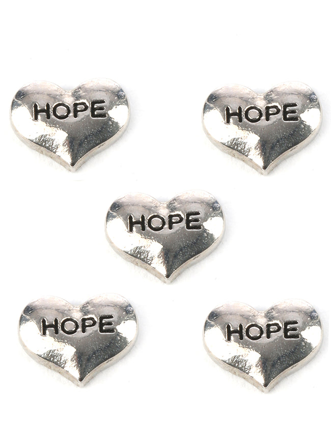 Sliver 5 Pc Hope Heart Floating Charm