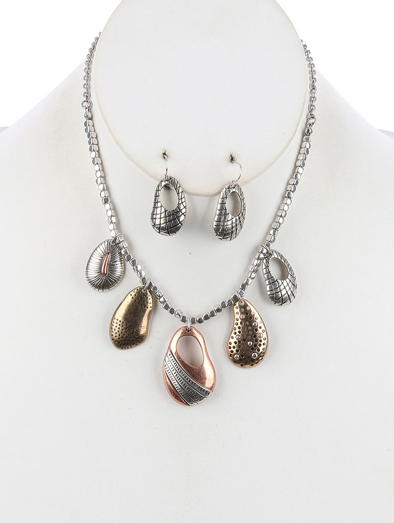 Mulit Color Irregular Shape Cutout Metal Bib Necklace And Earring Set