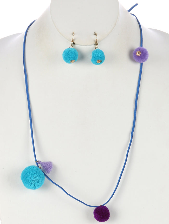 Blue Pom Pom Charm Faux Suede Necklace And Earring Set