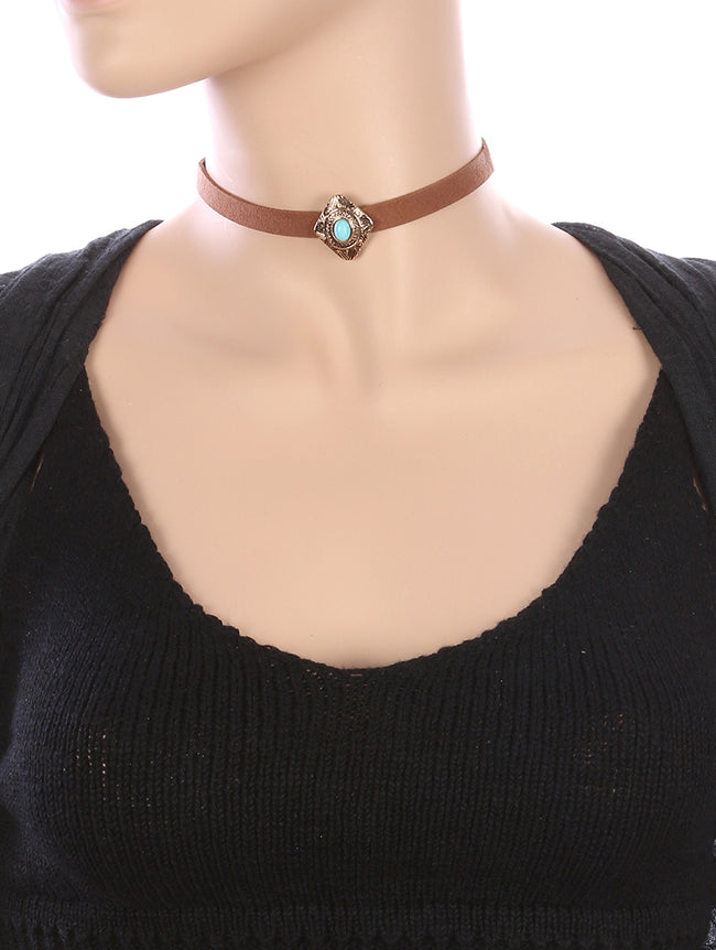 Brown Natural Stone Charm Faux Suede Choker Necklace