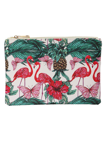 Mulit Color Tropical Print Vinyl Clutch Bag Accessory