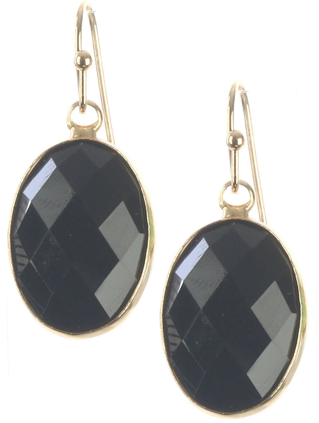 Black Oval Cut Faceted Lucite Stone Earring