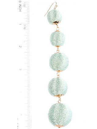 Mint Green Color Cord Wrapped Five Chunky Ball Earring Image#2