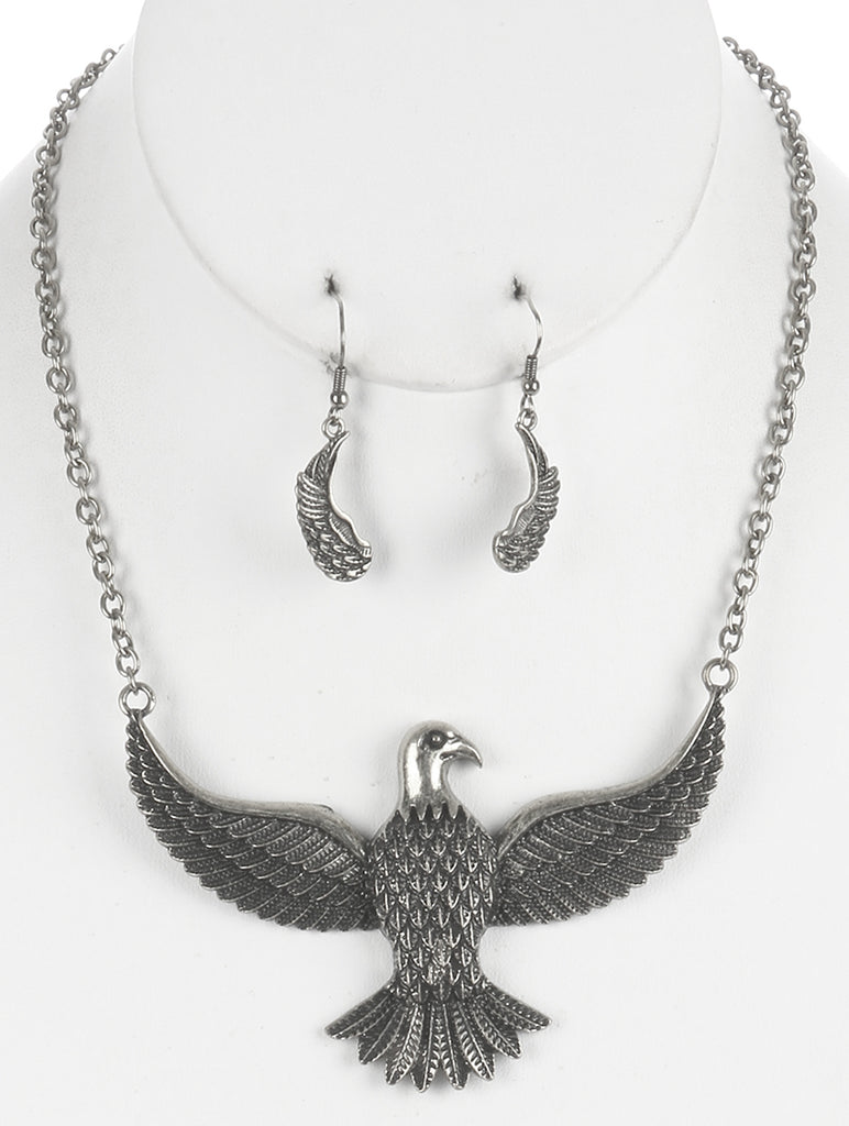 Sliver Aged Finish Metal Thunderbird Bib Necklace And Earring Set