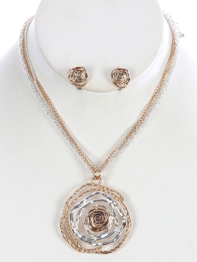 Mulit Color Irregular Rose Shape Pendant Necklace And Earring Set