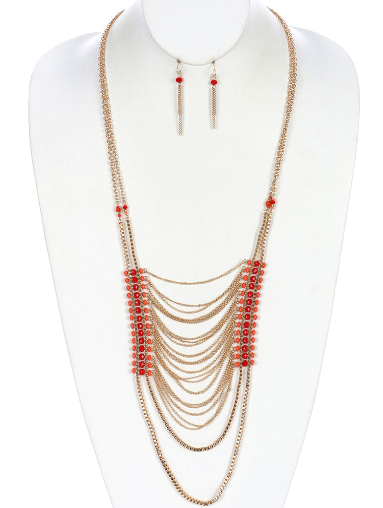 Coral Red Faceted Lucite Bead Multi Layer Chain Necklace And Earring Set
