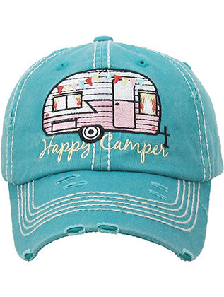 Turquoise Happy Camper Distressed And Faded Hat And Cap