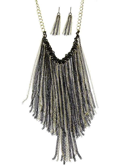 Black Metal Chain Fringe Bib Necklace And Earring Set