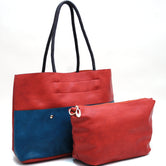 2-in-1 Colorblock Tote with Front Pouch Pockets