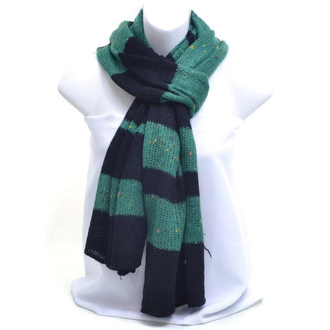 Two-Tone Stripe Free End Fashion Scarf