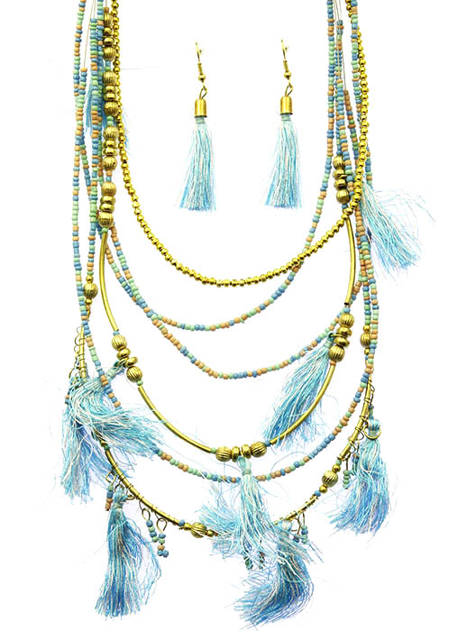Aqua Blue Multi Layered Tassel Necklace And Earring Set