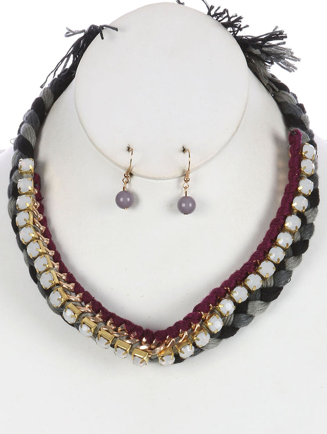 Purple Braided Yarn Bib Necklace And Earring Set