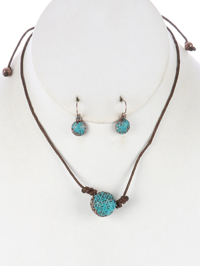 Turquoise Aged Finish Metal Ball Adjustable Cord Necklace And Earring Set