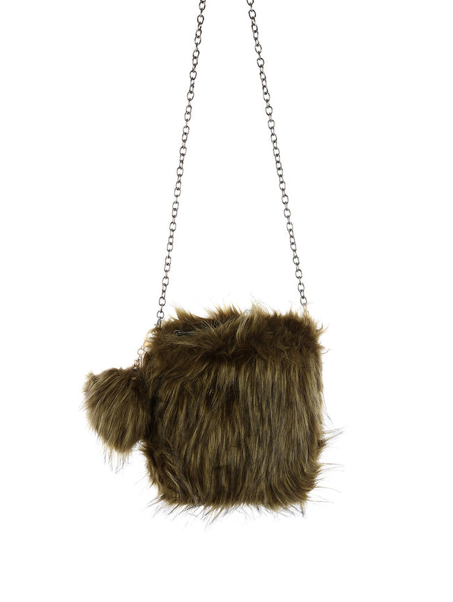 Olive Faux Fur Crossbody Fashion Bag Accessory - EKB19632OLV