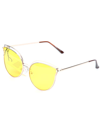 Yellow Double Wire Rim Cateye Fashion Sunglass