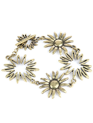 Gold Aged Finish Metal Cutout Flower Chain Bracelet Image#2