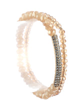 2 Pc Iridescent Bead Stretch Fashion Bracelet - MMB83477GDLCT