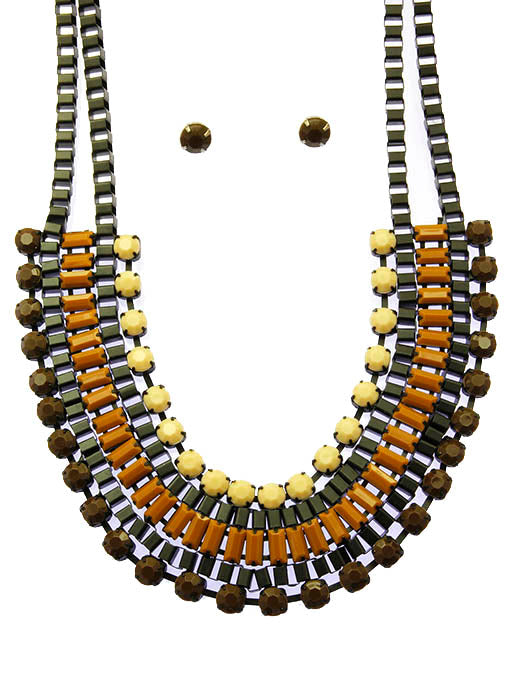 Natural Color Lucite Bib Necklace And Earring Set