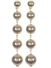 Gold Linear Layered Hollow Metal Ball Earring