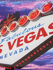Mulit Color Las Vegas Print Vinyl Clutch Wallet Bag Accessory