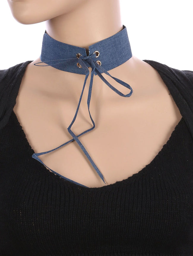 Blue Laced Center Denim Fabric Choker Necklace
