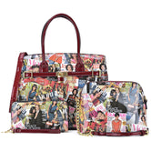 3-in-1 Michelle Obama Magazine Cover Printed Patent Leather Medium Satchel with padlock deco, with mini messenger bag and with Matching wallet