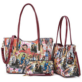 3-in-1 Michelle Obama Magazine Cover Printed Patent Leather Tote-in-a-tote with Matching wallet