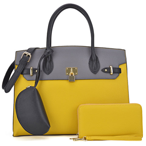 3-in-1 Two Tone Faux Leather Satchel with Padlock with Matching Wallet and a mini multi-purpose pouch