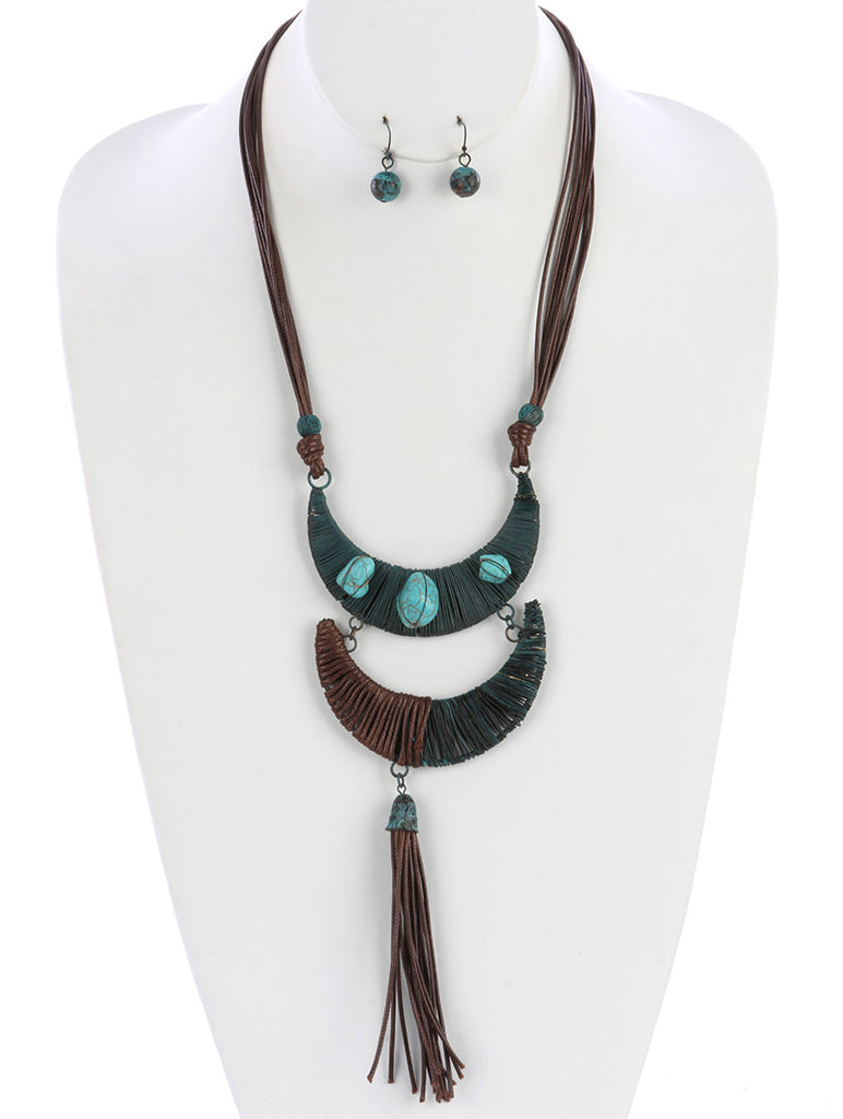 Turquoise Layered Crescent Moon Cord Tassel Necklace And Earring Set