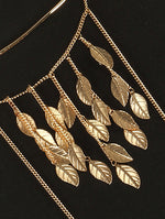 Gold Metal Leaf Fringe Necklace And Body Chain Image#2
