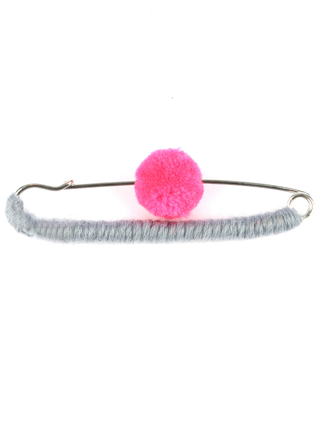 Pink Pom Pom Accented Shawl Pin And Brooch