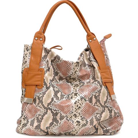 Two-Tone Faux Python Leather Tote Bag