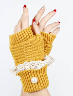 Yellow Laced Fold Over Hand Wrist Warmer General Merchandise
