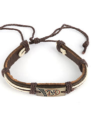 Mulit Color Faux Leather Band Adjustable Cord Bracelet