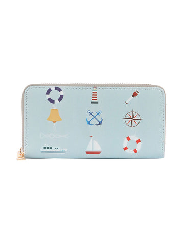 Mulit Color Nautical Print Vinyl Clutch Wallet Bag Accessory