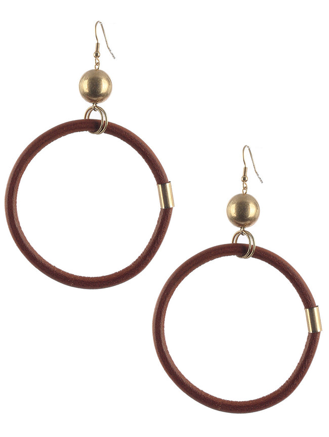 Brown Faux Rubber Ring Dangle Earring