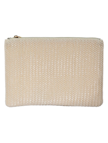 Beige Straw Woven Clutch Bag Accessory