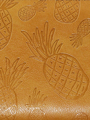 Brown Pineapple Engraved Faux Leather Clutch Wallet Bag Accessory